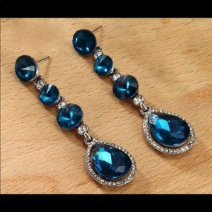 Prom Pageant Bridal Jewelry - Turquoise Crystal Prom Pageant Bridal Earrings